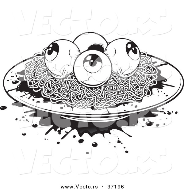 Vector of a Plate of Spaghetti White Eyeballs - Black and White Halloween Line Art