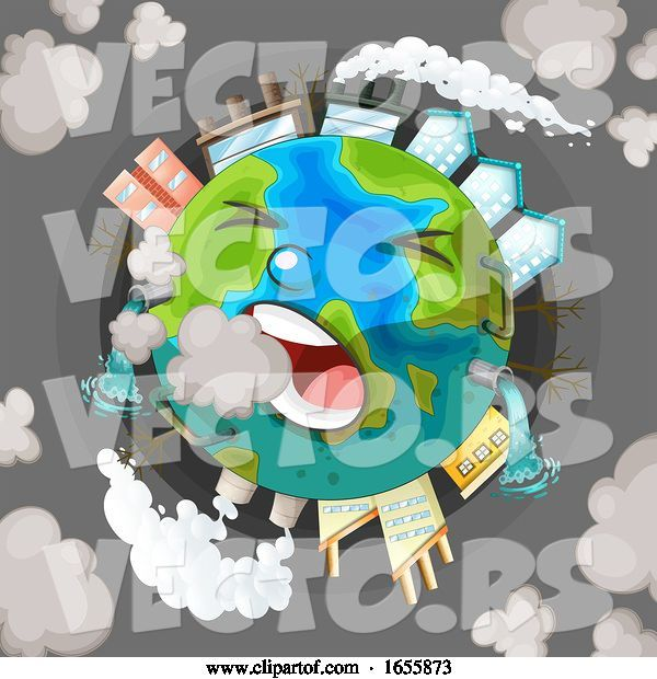 Vector of a Polluted Earth Coughing