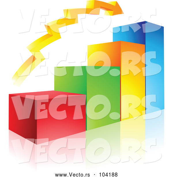 Vector of a Positive 3d Colored Bar Graph and Arrow