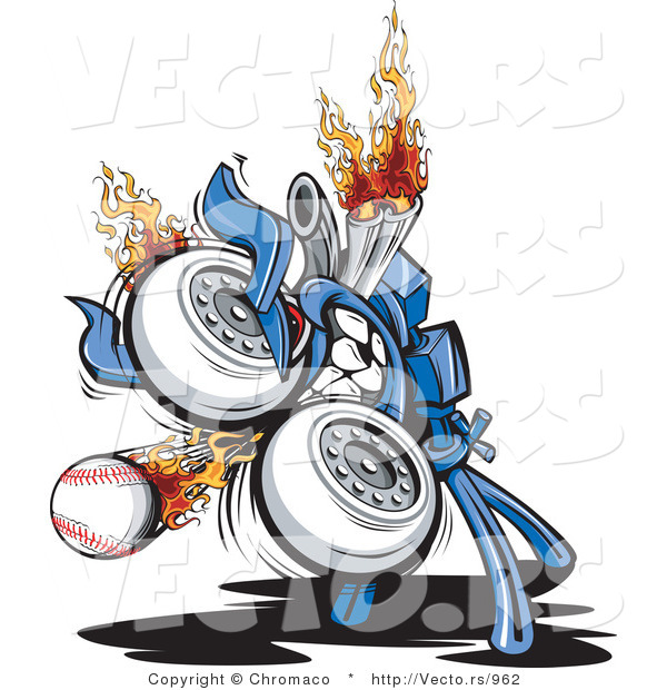 Vector of a Powerful Baseball Pitching Machine with Flames