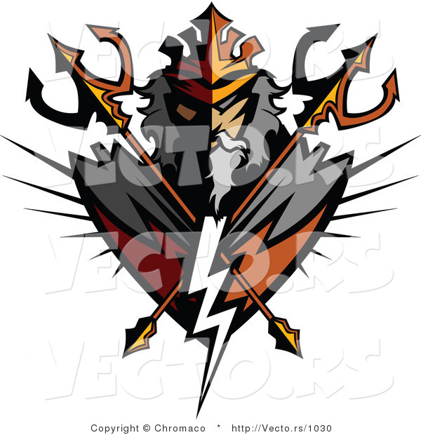 Vector of a Powerful Titan with 2 Crossed Tridents and Lighting Bolt