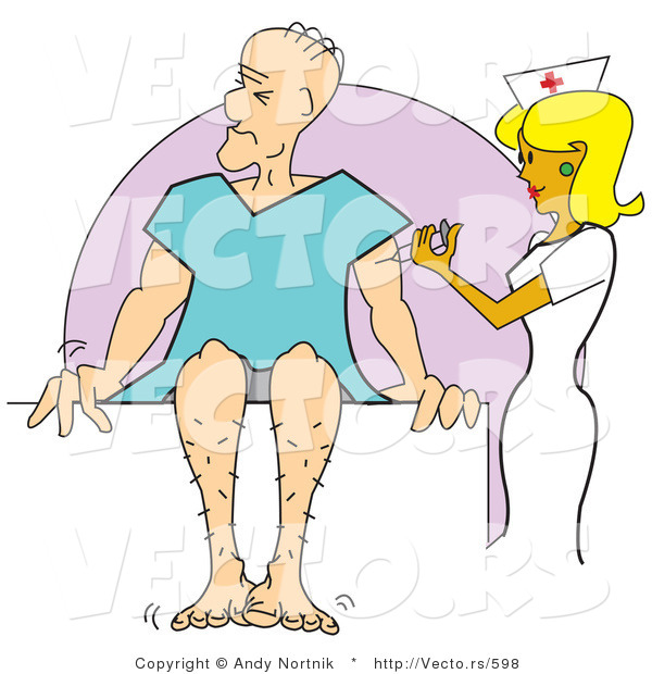 Vector of a Pretty Cartoon Nurse Giving Sick Man a Shot in His Arm