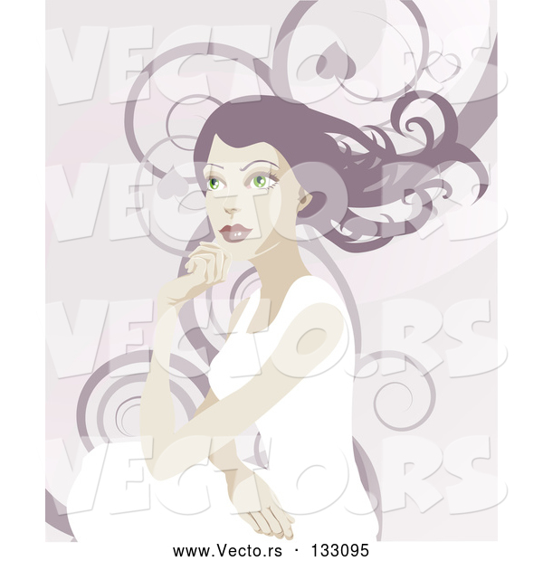 Vector of a Pretty Lady with Long Hair, Looking off into the Distance over a Background of Swirls