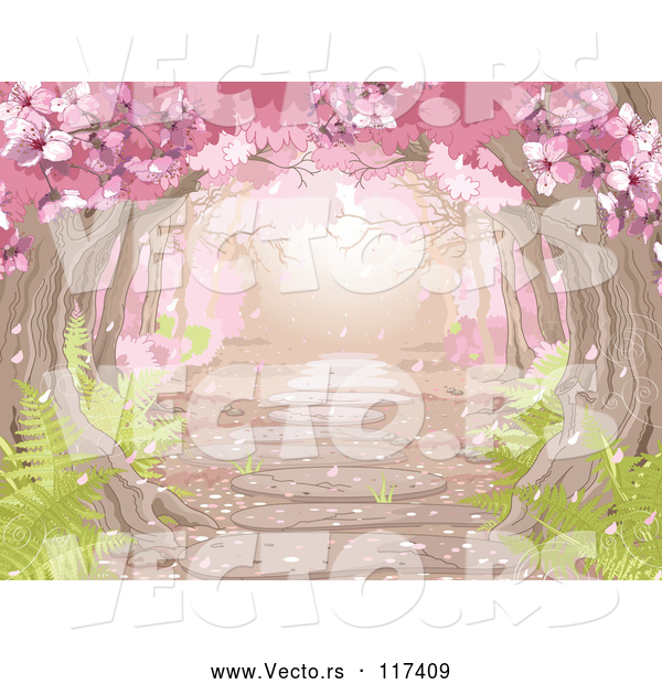 Vector of a Pretty Path Through Pink Spring Blossoms over a Stone Path with Ferns