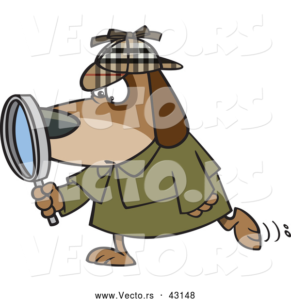 Vector of a Private Investigator Cartoon Dog Looking Through a Magnifying Glass While Walking Forward