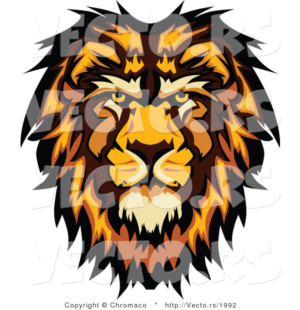 Vector of a Profiled Cartoon Male Lion Mascot