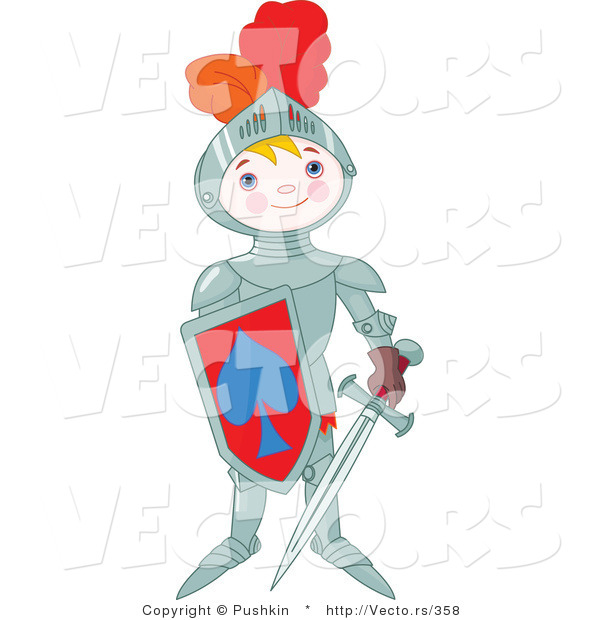 Vector of a Proud Boy Wearing Armored Knight Gear with a Shield and Sword