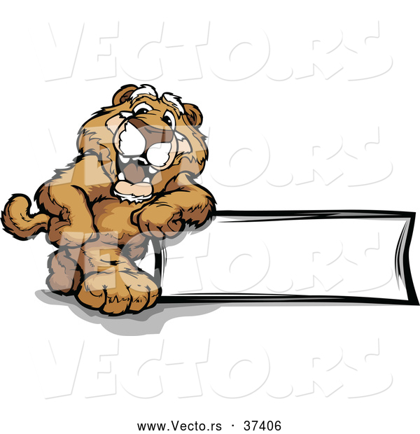 Vector of a Proud Cartoon Cougar Mascot Leaning Against a Blank Sign