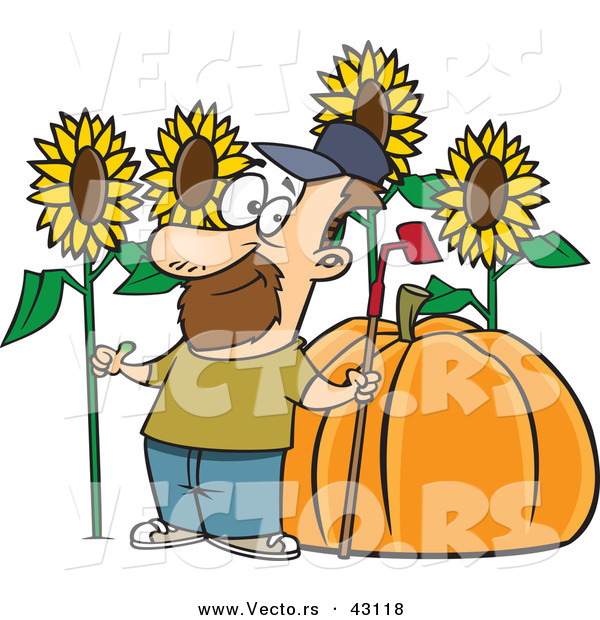 Vector of a Proud Cartoon Farmer with a Green Thumb Standing Beside His Big Sunflowers and Pumpkin