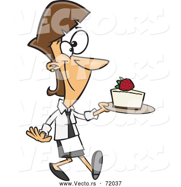 Vector of a Proud Cartoon Female Baker Serving Strawberry Cheesecake