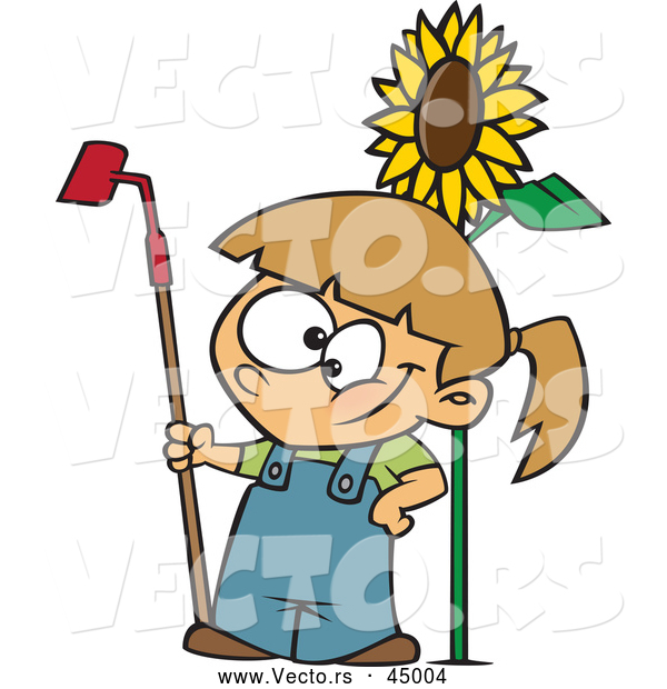 Vector of a Proud Cartoon Girl Posing Beside a Big Sunflower with a Garden Hoe