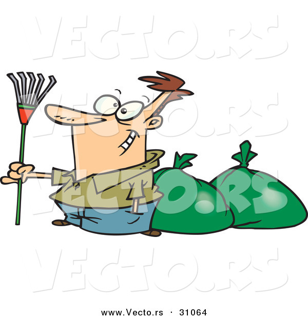 Vector of a Proud Cartoon Man Holding a Rake While Standing Beside a Couple Bags Full of Leaves