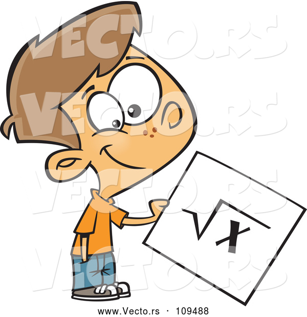 : Vector of a Proud Cartoon School Boy Holding Square Root Math Page
