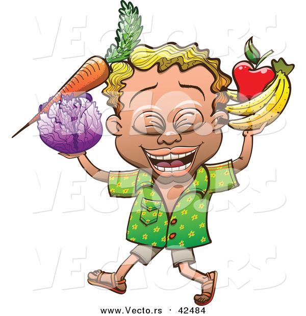 Vector of a Proud Man Carrying Nutritious Fruits and Vegetables