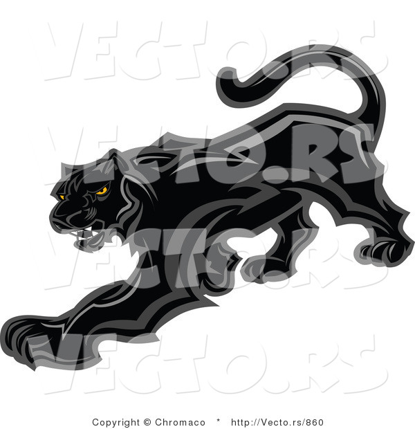Vector of a Prowling Black Panther Mascot Preparing to Attack