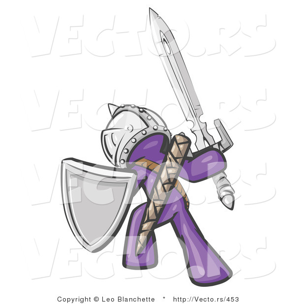 Vector of a Purple Knight with a Sword and Shield