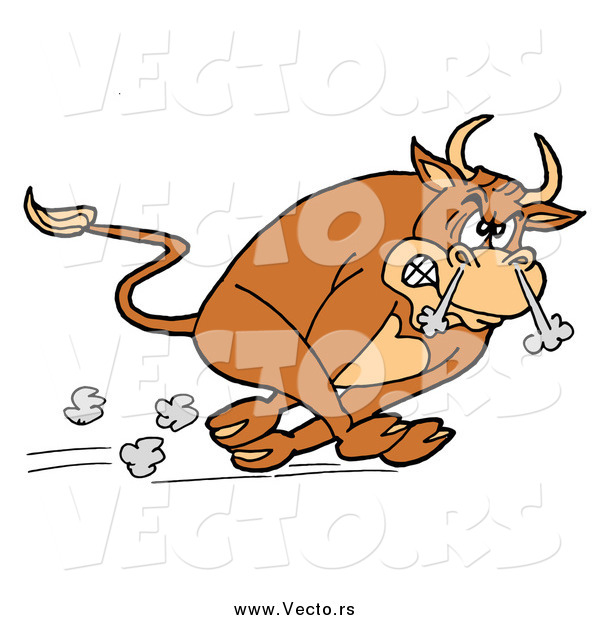 : Vector of a Raging Charging Bull Running with Smoke Coming out of His Nose