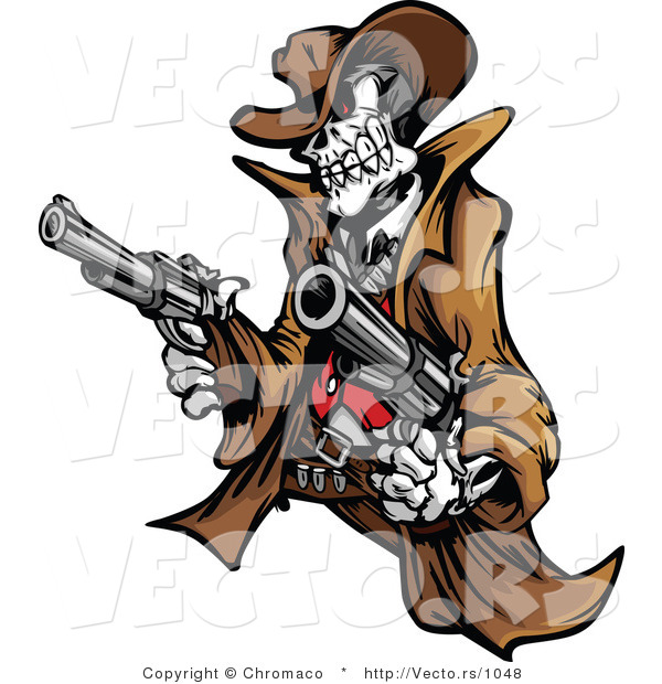 Vector of a Rebel Cowboy Skeleton Pointing Two Guns