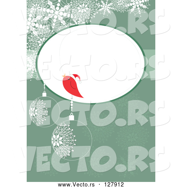 : Vector of a Red Bird Talking in Blank Bubble over a Green Christmas Bauble Background