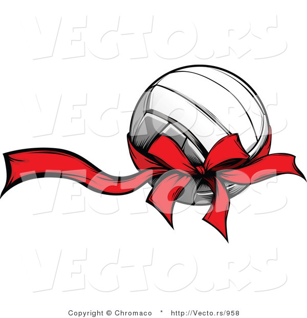 Vector of a Red Bow and Ribbon Wrapped Around Volleyball Gift