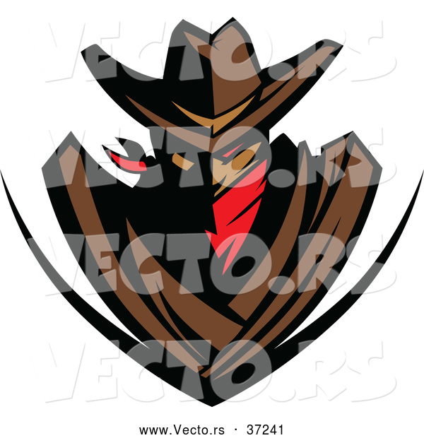 Vector of a Red Eyed Cowboy Outlaw Shield