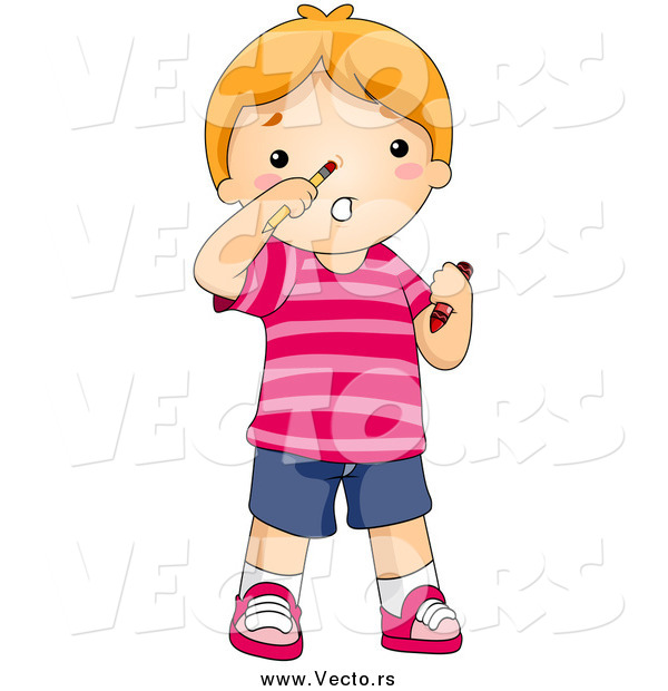 Vector of a Red Haired Boy with a Pencil Stuck up His Nose