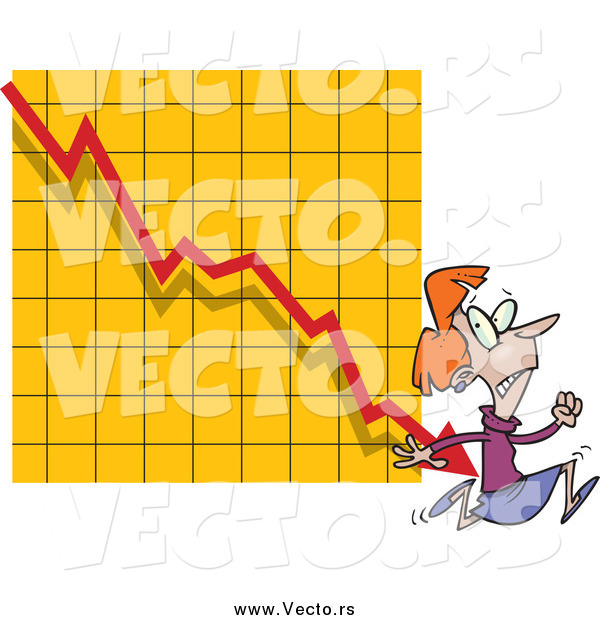 Vector of a Red Haired Scared Businesswoman Running from a Chart Arrow
