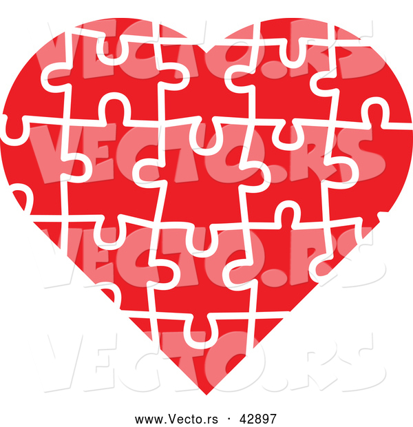 Vector of a Red Jigsaw Puzzle Love Heart