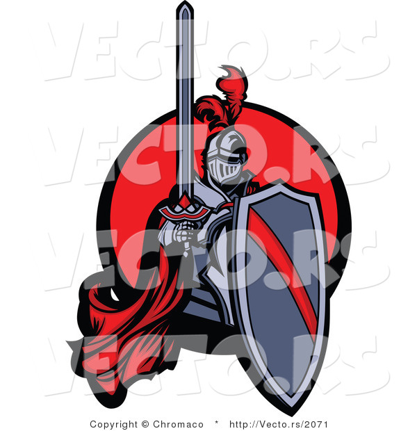 Vector of a Red Knight Holding Shield and Sword over Circle Icon