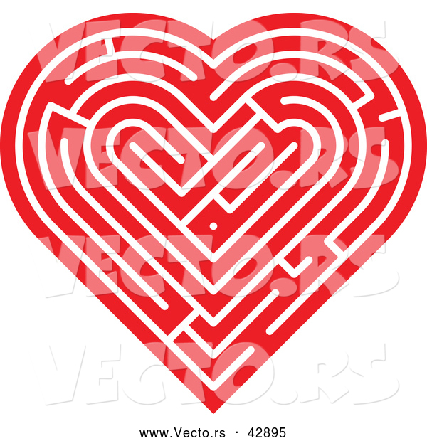Vector of a Red Labyrinth Love Heart