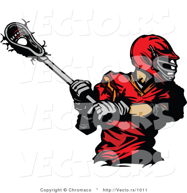 Vector of a Red Lacrosse Player Swinging Stick