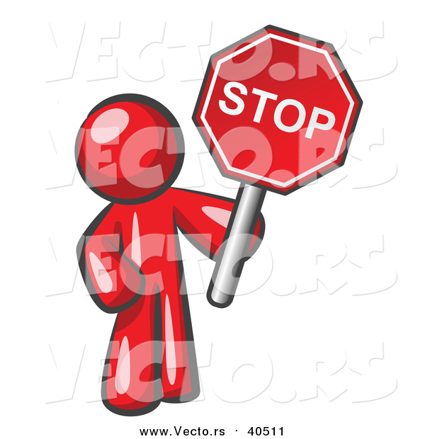 Vector of a Red Man Holding a Stop Sign