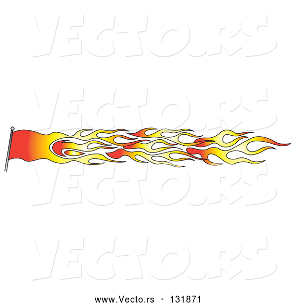 Vector of a Red Orange Flag Made of Fire