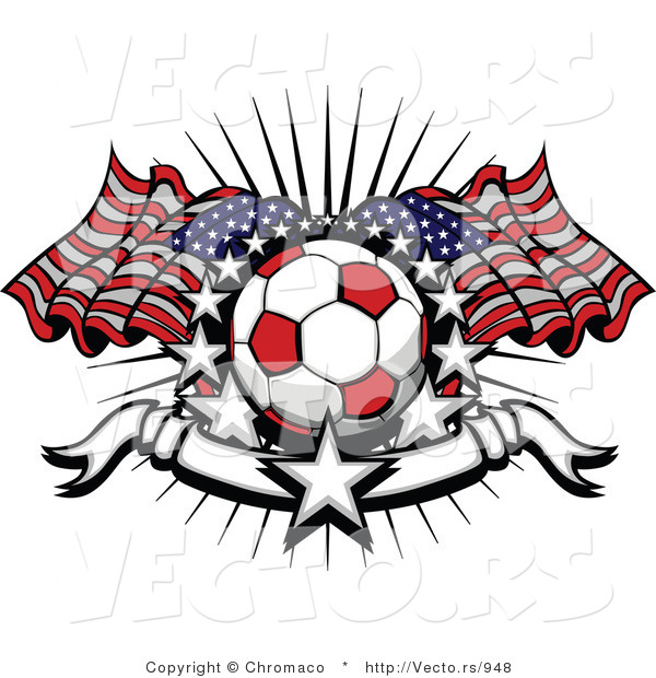 Vector of a Red Soccer Ball with American Flags Surrounded by Stars and a Blank Banner