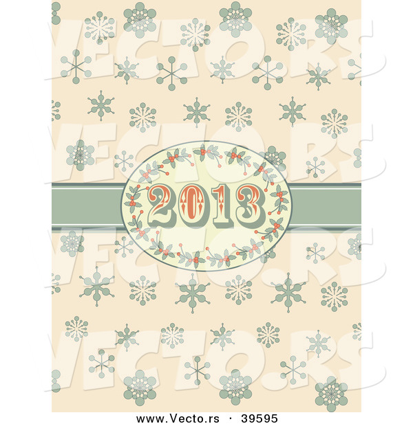 Vector of a Retro 2013 New Year Holly Frame and Ribbon over Snowflakes