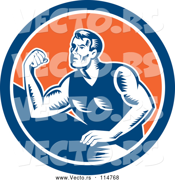 Vector of a Retro Arm Wrestling Man in a Blue White and Orange Circle