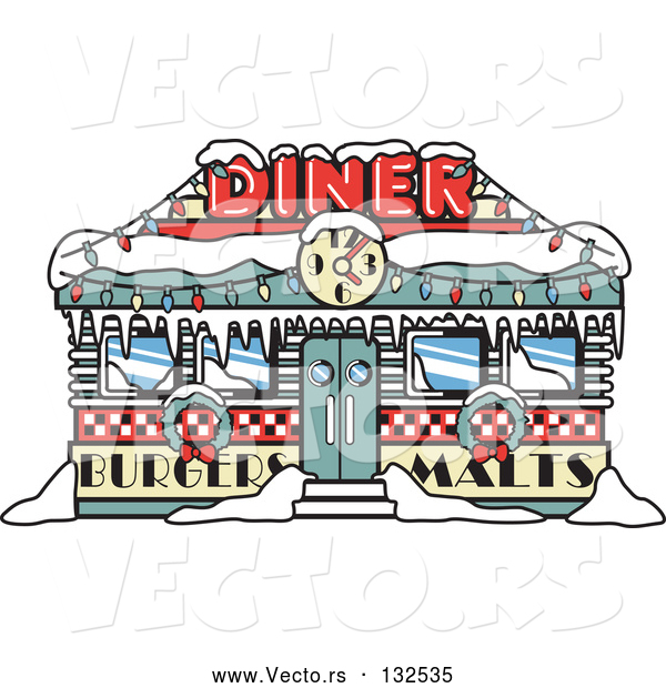 Vector of a Retro Diner in Snow During Christmas