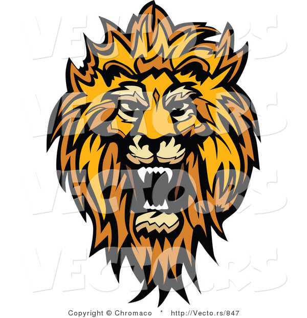 Vector of a Roaring African Lion Design