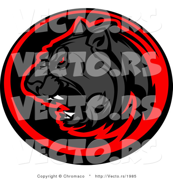 Vector of a Roaring Black Panther Within Red and Black Circle Icon