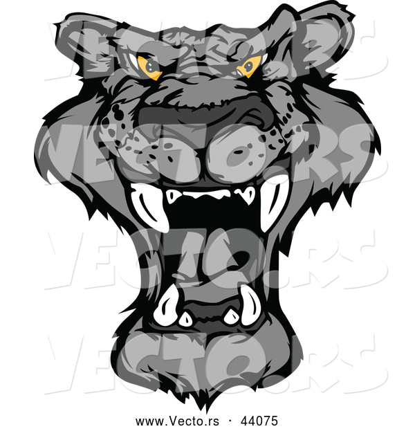 Vector of a Roaring Cartoon Black Panther Mascot