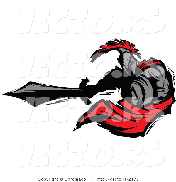 Vector of a Roman Cartoon Spartan Warrior Lunging Outwards with a Sword