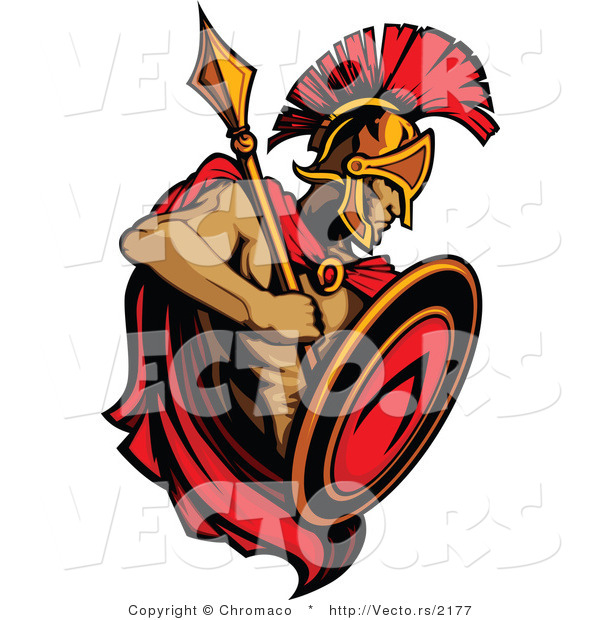 Vector of a Roman Spartan Warrior with Shield and Spear