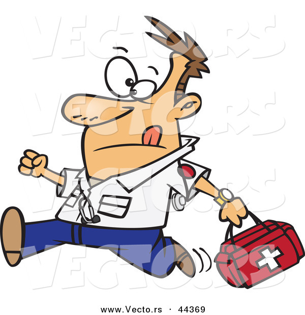 Vector of a Rushing Cartoon Male EMT Carrying a First Aid Kit