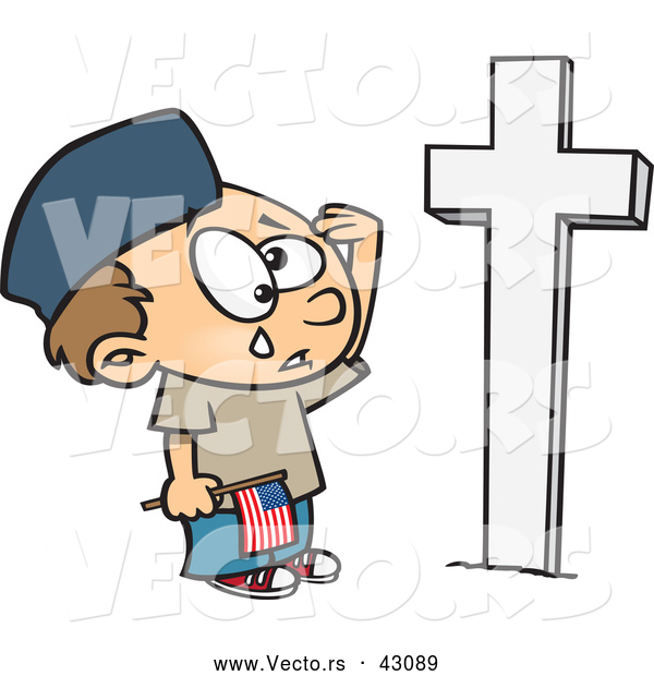 Vector of a Sad Cartoon Boy Crying and Saluting a Soldiers Grave on Memorial Day