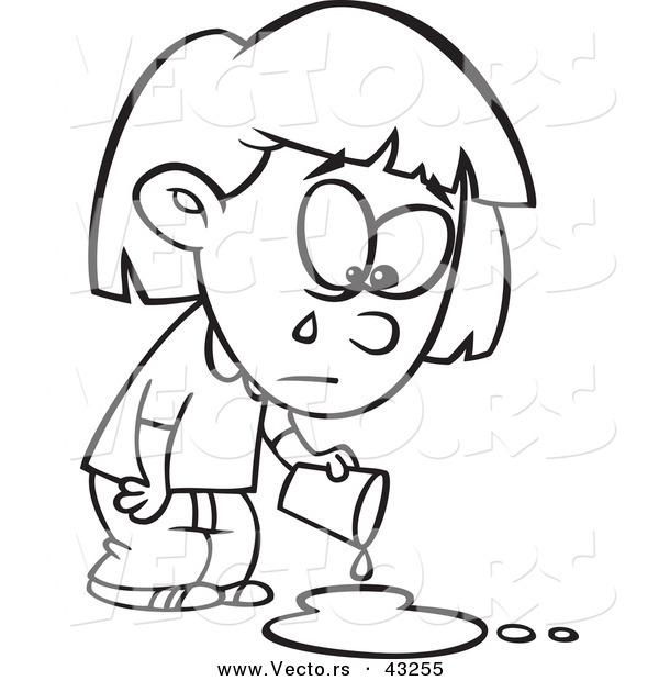 Vector of a Sad Cartoon Girl Crying over a Spilled Drink - Coloring Page Outline