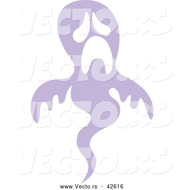 Vector of a Sad Purple Ghost Pouting While Floating up