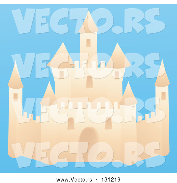 Vector of a Sand Castle on a Beach with a Blue Background