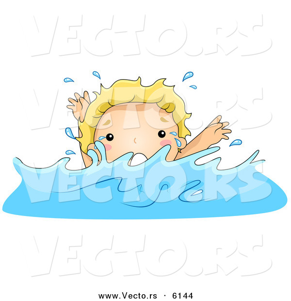 Vector of a Scared Cartoon Boy Drowning in Deep Water