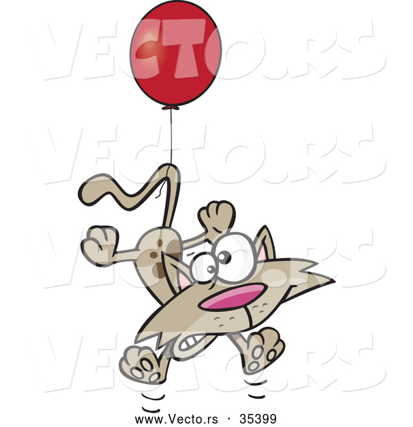 Vector of a Scared Cartoon Cat Tied to a Red Helium Balloon Floating up
