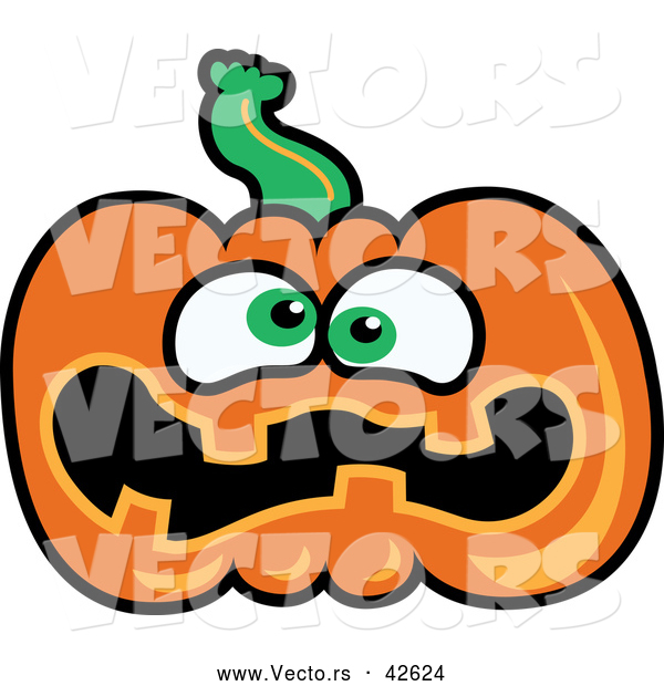 Vector of a Scared Cartoon Jackolantern Pumpkin